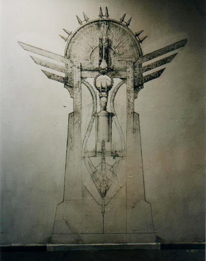 PUERTA DE LOS CIELOS  (boceto), lápiz carbón, 250 cm. de altura.