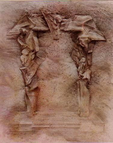 PORTAL (boceto), técnica mixta 54 x 67 cm. 1990.